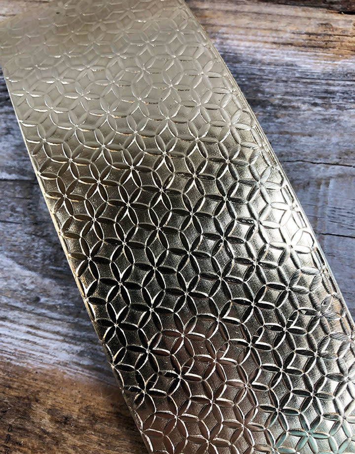 BSP44 = Patterned Brass Sheet ''Flower of Life'' 2'' x 6'' (Choose Guage)