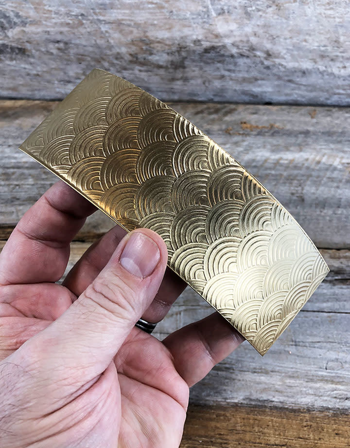 BSP45 = Patterned Brass Sheet ''Rainbows'' 2'' x 6'' (Choose Guage)