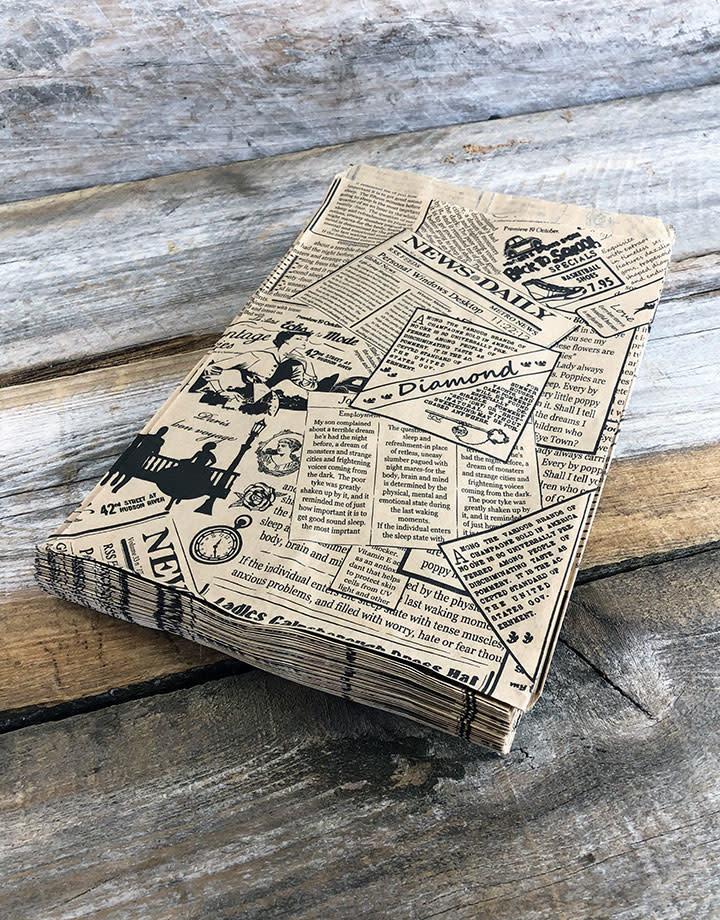 DBG1114 = Paper Gift Bag Classic News Print Pattern 6'' x 9'' (Bundle of 100)