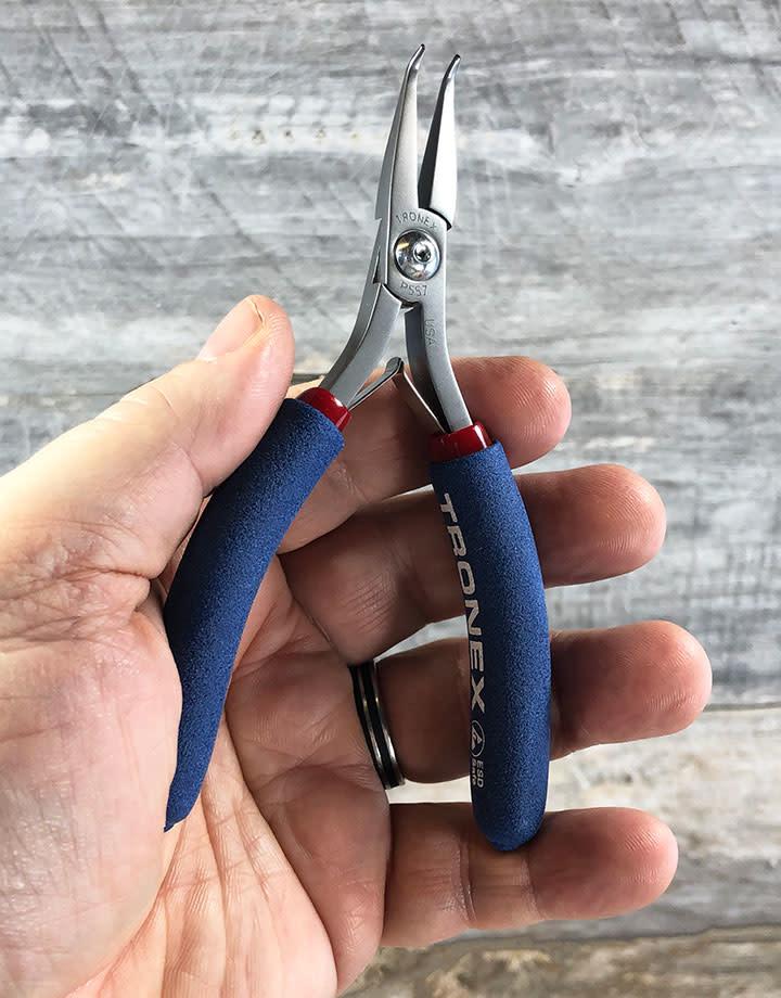Tronex PL30557 = Tronex 557 Bent Nose 60deg Fine Tip Pliers - Short Handle