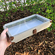 DTR7400 = Glass Top Grey Linen Tray with Metal Clasp 2'' Deep