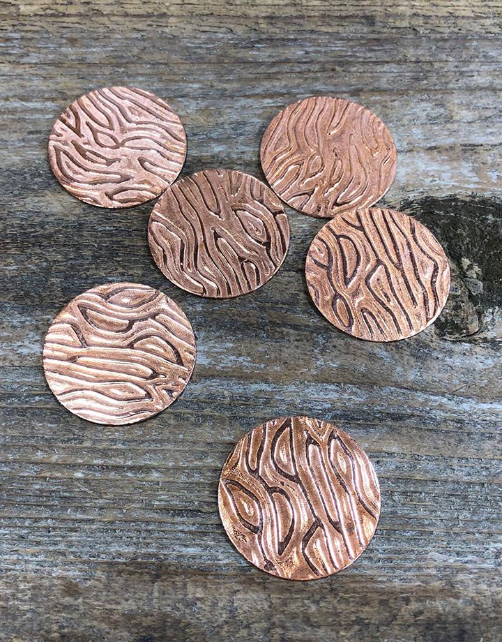 "CSP640-1 = Pattern Copper Disc 1"" x 24ga ""Mega Fingerprint"" (Pkg/6)"
