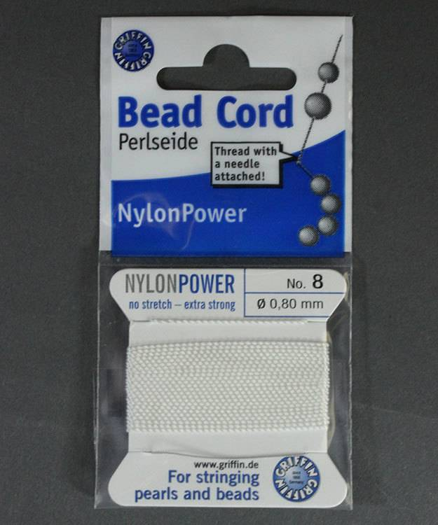 38.0828 = White Nylon Beading Cord #8 on Card with Needle