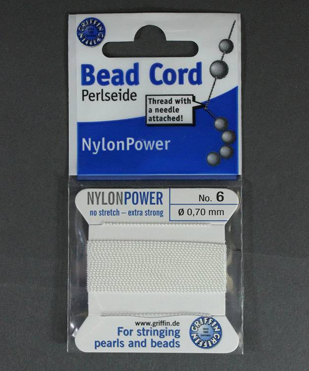 38.0826 = White Nylon Beading Cord #6 on Card with Needle