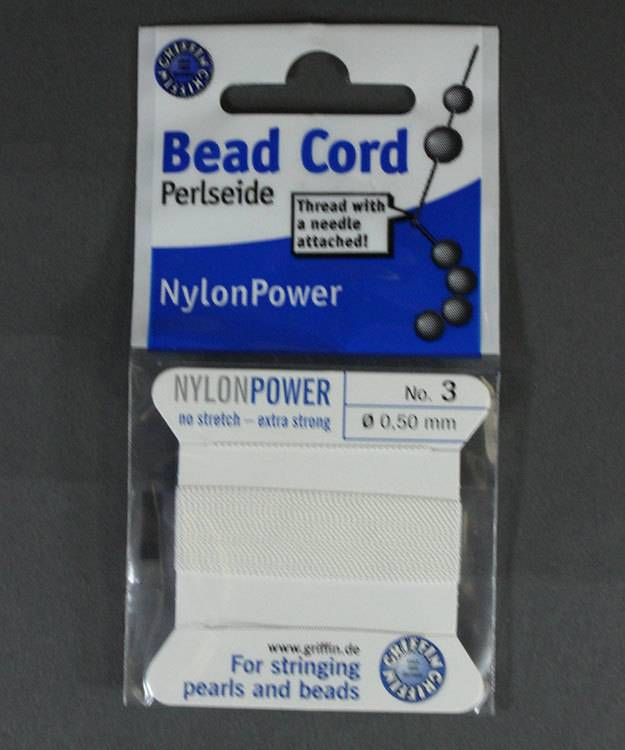 38.0823 = White Nylon Beading Cord #3 on Card with Needle