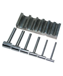 DA3435 = U-CHANNEL STEEL FORMING BLOCK with 6 HAMMER-SHAPED PUNCHES