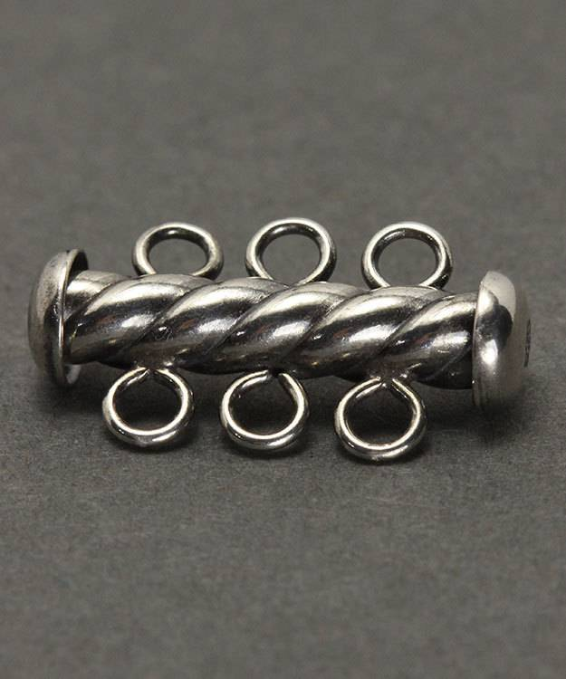 5003S-03 = Tube Clasp Sterling Silver Oxidized Twist with 3 Rings 4.3 x 22mm (Each)