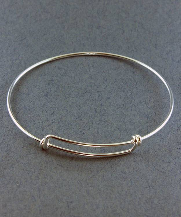 980S-50 = Sterling Silver Adjustable Wire Bangle 8-9.5''  14ga Wire