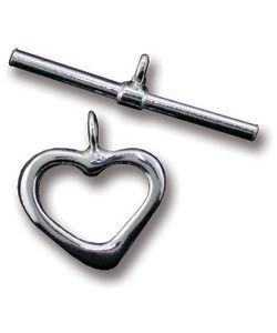 911S-55 = STERLING SILVER - TOGGLE-HEART SHAPE-1.5x12mm HEART-22mm BAR (SET)