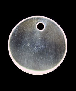 208S-51 = Sterling Round Tag 20mm with Hole - High Polish