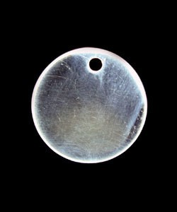 208S-50 = Sterling Round Tag 17mm with Hole - High Polish