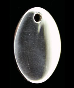 208S-53 = Sterling Oval Tag 17x23mm with Hole - High Polish