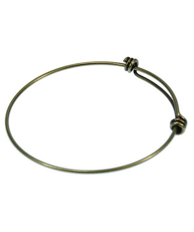 980AG-50 = Antique Gold Plated Adjustable Wire Bangle 8-9.5''  14ga Wire