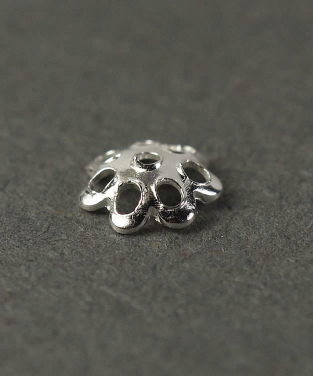 5020S-50 = Bead Cap Sterling Silver Flower Design 5.0mm (Pkg of 20)