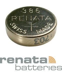 BA386 = Battery - Renata Mercury Free Watch #386 (SR43W) (Pkg of 10)