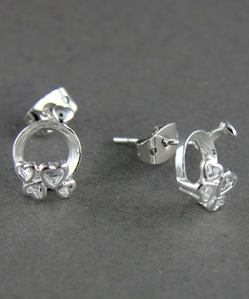 3224SP = StoneSett Tension Mount Earring by Beadalon Hearts, fits 8-9.0mm stones, 1 pair