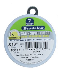 CD40718SC-100 = BEADALON 7  .018''  SATIN SILVER 100 FT SPOOL