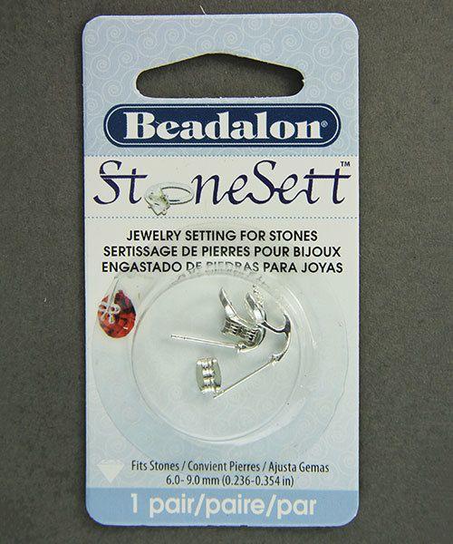 3221SP = StoneSett Tension Mount Earring by Beadalon Bow, fits 6-9.0mm stones, 1 pair