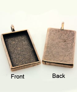 3000CP-20 = Rectangle Pendant 3/4''x1-1/4'' Copper Plated with Bail