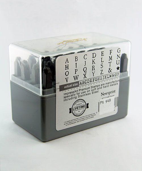 PN948 = Punch Set Upper Case Newsprint A thru Z Hardened for Stainless Steel   3mm Imprint