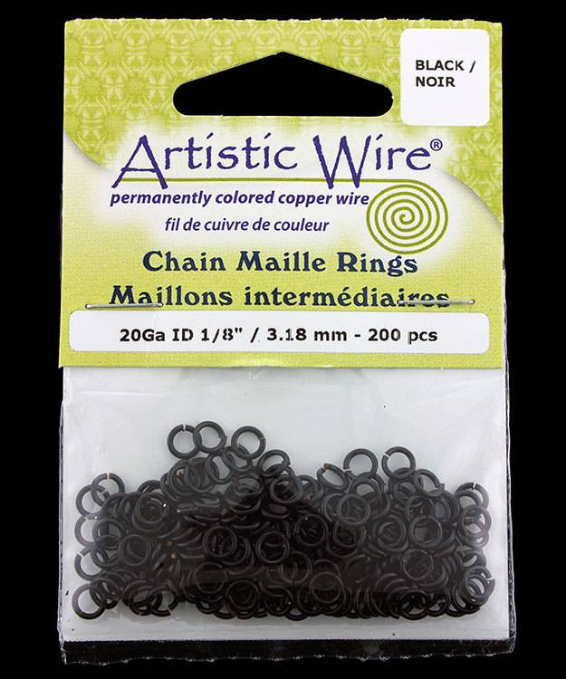 900AWB-13 = Artistic Wire Black Jump Ring 3.1mm ID (1/8'') 20ga