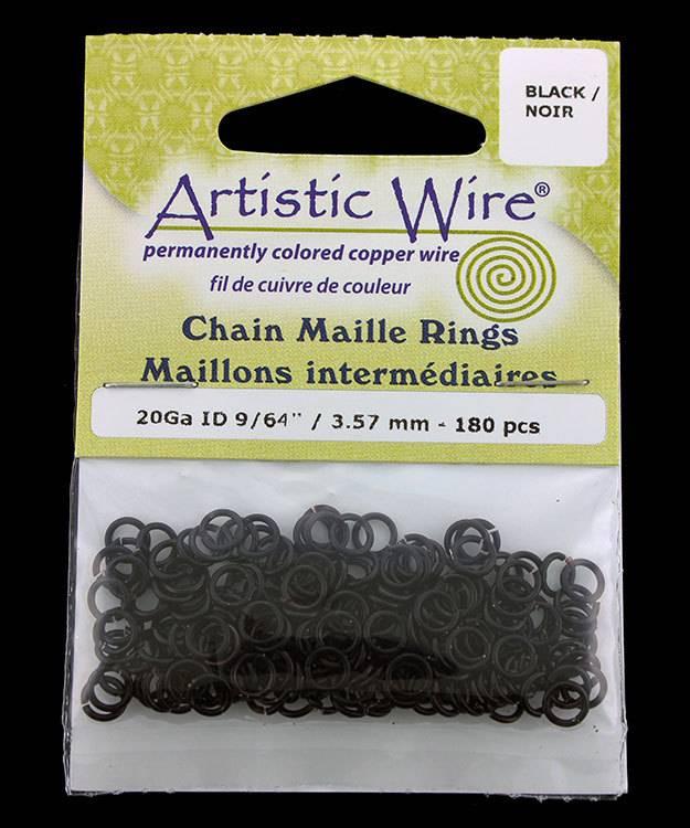 900AWB-14 = Artistic Wire Black Jump Ring 3.5mm ID (9/64'') 20ga