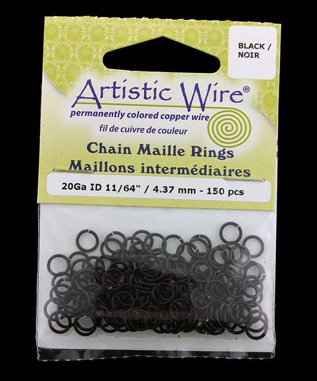 900AWB-16 = Artistic Wire Black Jump Ring 4.3mm ID (11/64'') 20ga