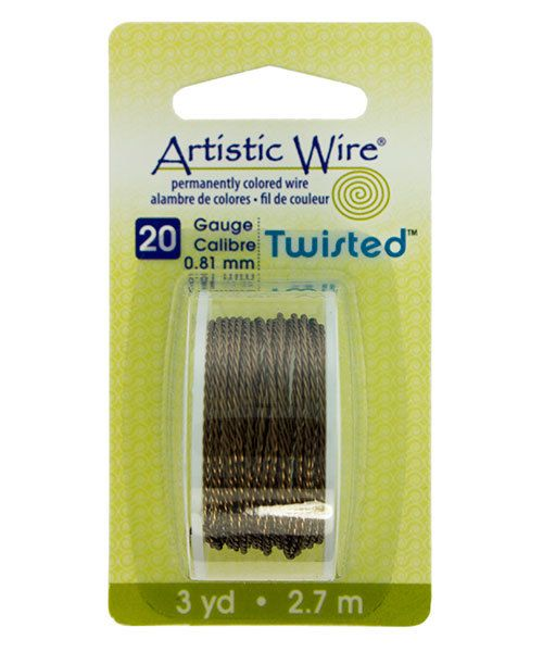 WR42920 = ARTISTIC WIRE DISPENSER PACK TWIST Antique Brass 20ga 3 yards