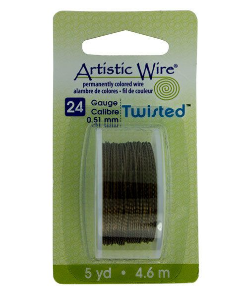 WR42924 = ARTISTIC WIRE DISPENSER PACK TWIST Antique Brass 24ga 5 yards