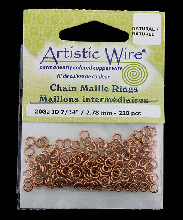 900AWN-12 = Artistic Wire Natural Copper Jump Ring 2.8mm ID (7/64'') 20ga
