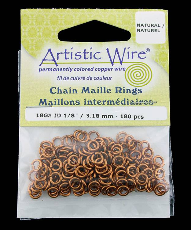 900AWN-03 = Artistic Wire Natural Copper Jump Ring 3.1mm ID (1/8'') 18ga