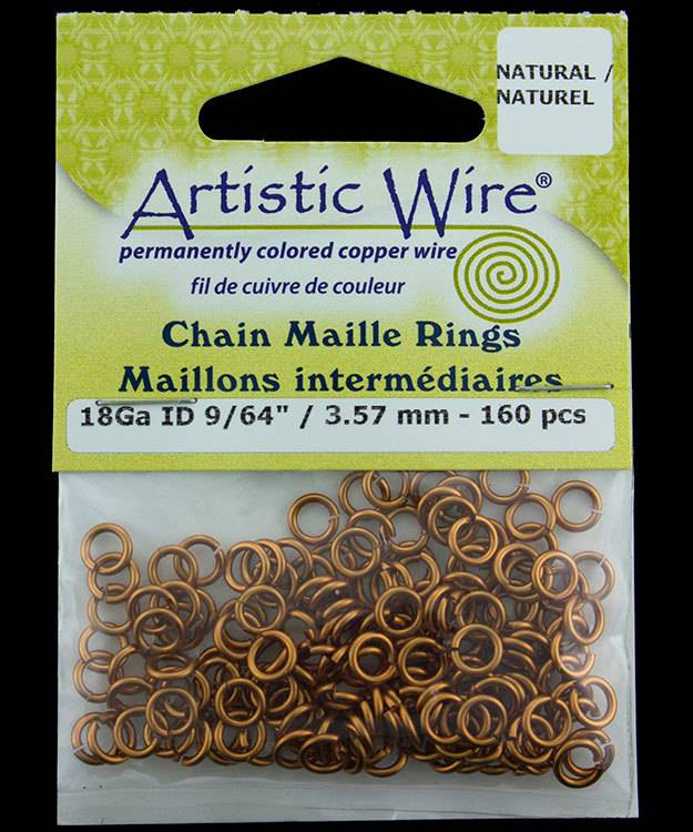 900AWN-04 = Artistic Wire Natural Copper Jump Ring 3.5mm ID (9/64'') 18ga