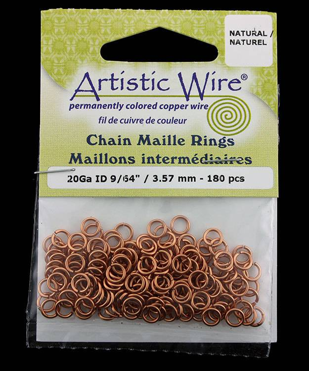 900AWN-14 = Artistic Wire Natural Copper Jump Ring 3.5mm ID (9/64'') 20ga