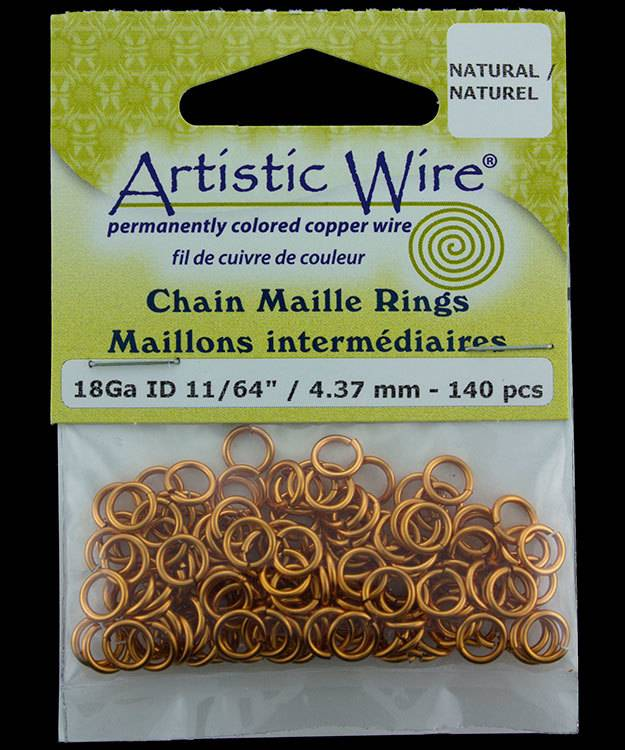 900AWN-06 = Artistic Wire Natural Copper Jump Ring 4.3mm ID (11/64'') 18ga