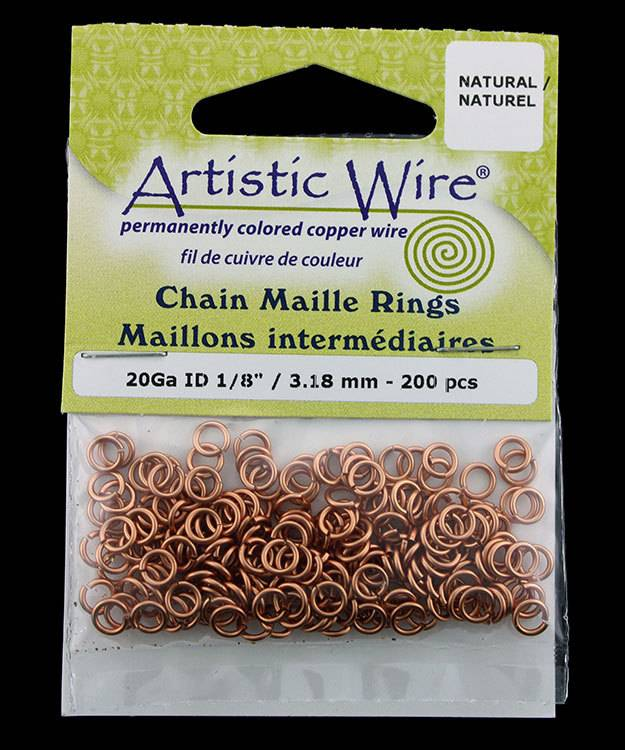 900AWN-16 = Artistic Wire Natural Copper Jump Ring 4.3mm ID (11/64'') 20ga