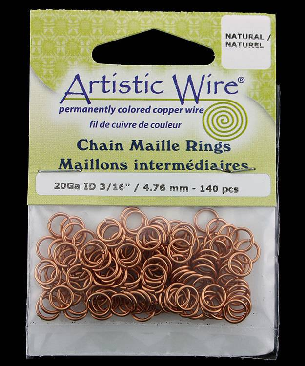 900AWN-17 = Artistic Wire Natural Copper Jump Ring 4.7mm ID (3/16'') 20ga