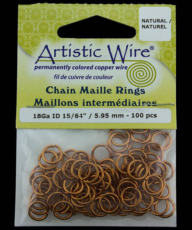 900AWN-09 = Artistic Wire Natural Copper Jump Ring 5.9mm ID (15/64'') 18ga