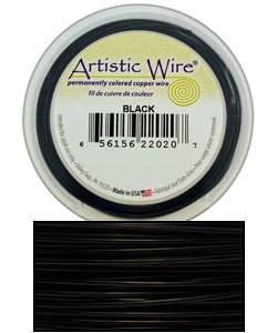 WR30224 = Artistic Wire Spool BLACK 24ga 20 YARDS