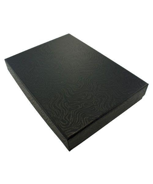 DBX2853B = BOXES - COTTON FILLED BLACK SWIRL  5-3/8'' x 3-7/8'' x 1''  CASE 100