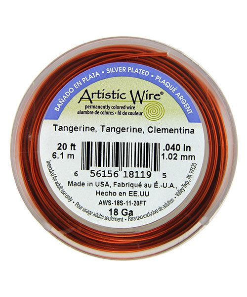 WR36118 = Artistic Wire Spool SP Tangerine 18ga 20 FEET