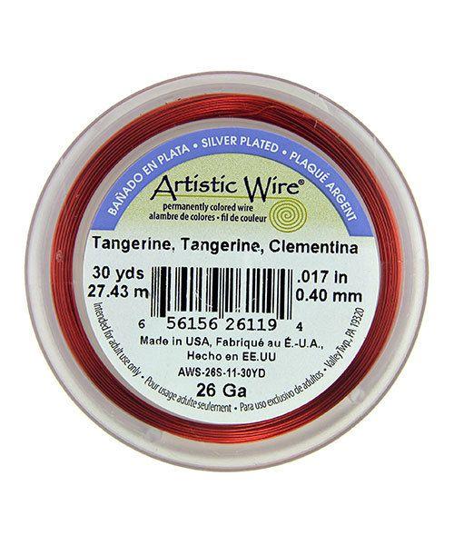 WR36126 = Artistic Wire Spool SP Tangerine 26ga 30 YARDS