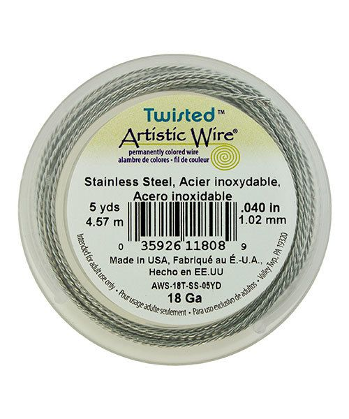 WR53818 = Artistic Wire Twisted Stainless Steel 18ga (5 yds)