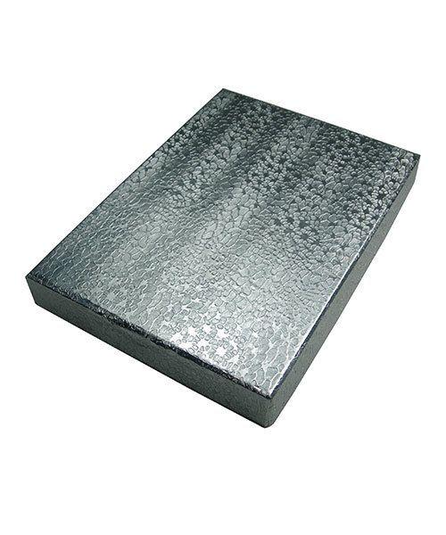 DBX2853S = BOXES - COTTON FILLED SILVER FOIL  5-3/8'' x 3-7/8'' x 1''  CASE 100