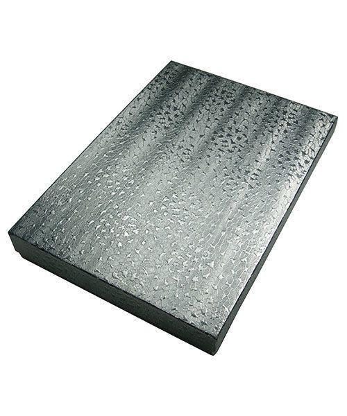 DBX2875S = BOXES - COTTON FILLED SILVER FOIL  7-1/8'' x 5-1/8'' x 1-1/8''  CASE 100