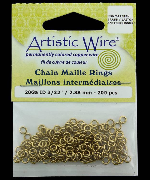 900AWR-11 = Artistic Wire Tarnish Resistant Brass Jump Ring 2.4mm ID (3/32'') 20ga