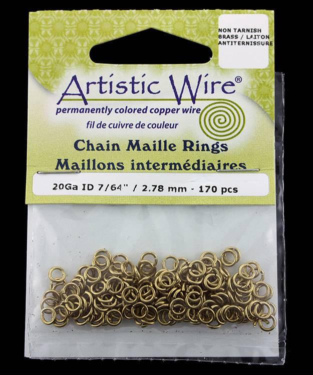 900AWR-12 = Artistic Wire Tarnish Resistant Brass Jump Ring 2.8mm ID (7/64'') 20ga