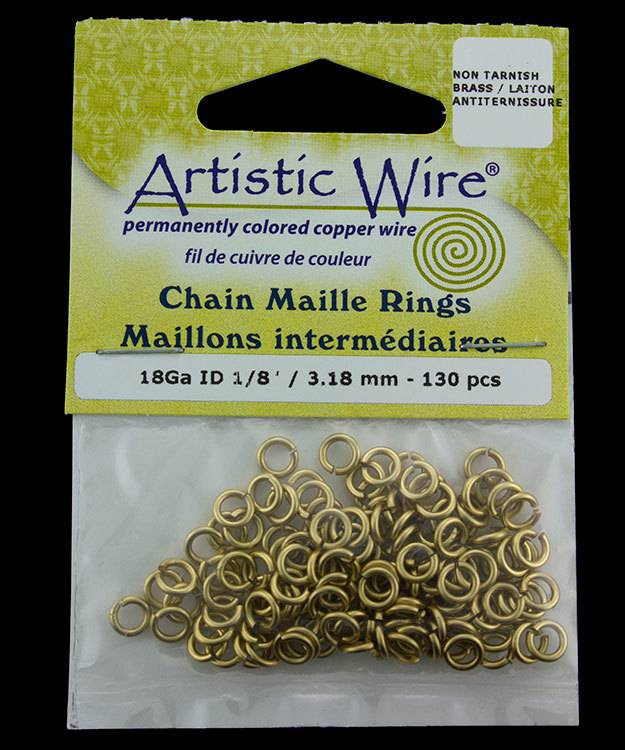 900AWR-03 = Artistic Wire Tarnish Resistant Brass Jump Ring 3.1mm ID (1/8'') 18ga