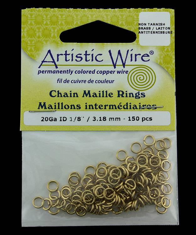 900AWR-13 = Artistic Wire Tarnish Resistant Brass Jump Ring 3.1mm ID (1/8'') 20ga