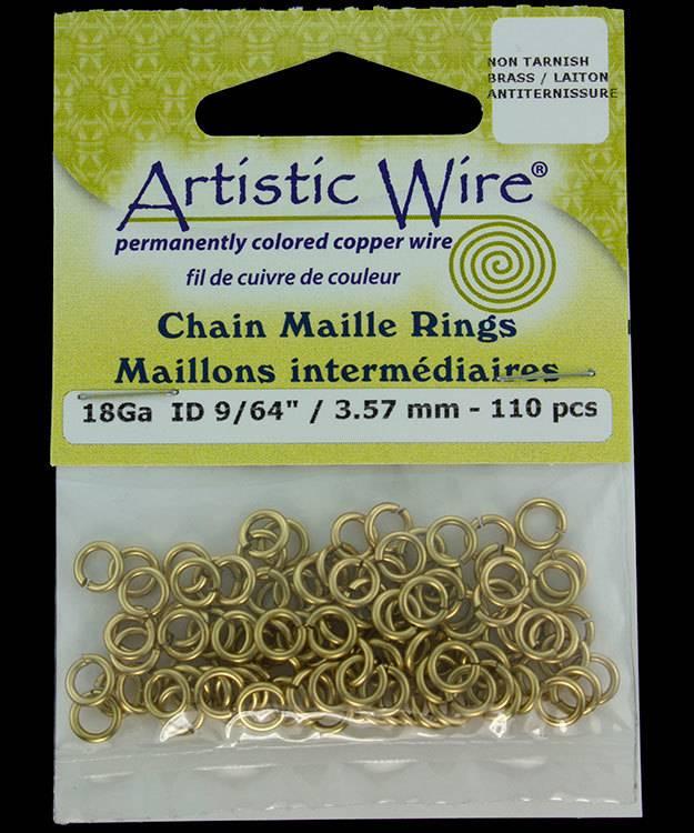 900AWR-04 = Artistic Wire Tarnish Resistant Brass Jump Ring 3.5mm ID (9/64'') 18ga