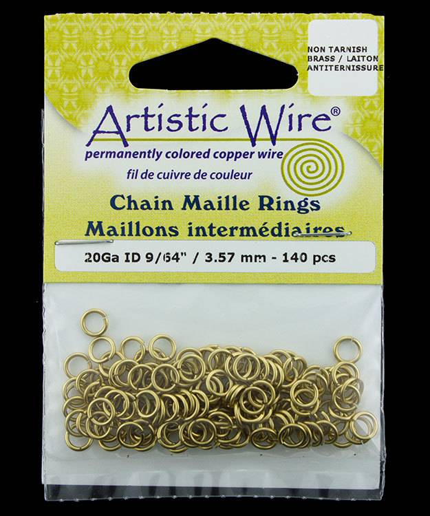 900AWR-14 = Artistic Wire Tarnish Resistant Brass Jump Ring 3.5mm ID (9/64'') 20ga